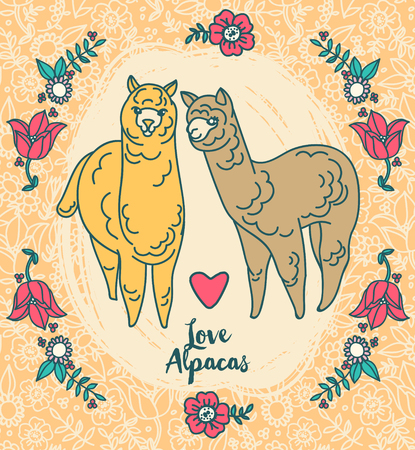 cute poster with lovely alapacas and flowers, set of vector illustration