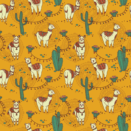 seamless pattern with cute doodle alapaca in boho style and cactus, vector illustration