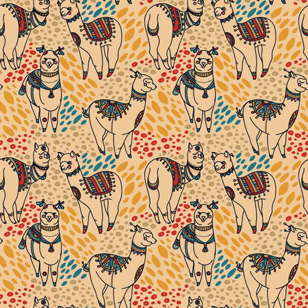 seamless pattern with cute doodle alapaca in boho style, vector illustration 向量圖像