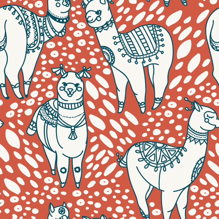 seamless pattern with cute doodle alapaca in boho style, vector illustration  イラスト・ベクター素材