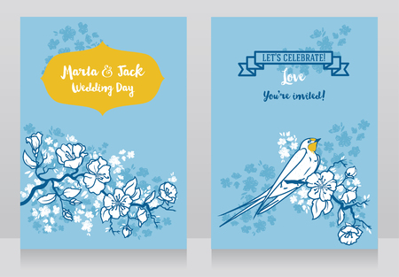 Cards for wedding with blooming tree branches and swallows couple, classic style design, vector illustration