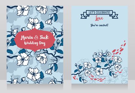 Cards for wedding with blooming tree branches, japanese sakura flowers on wedding banners, vector illustration Иллюстрация