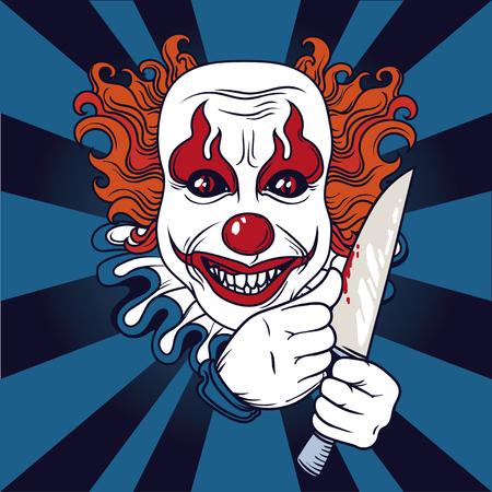 Payaso malvado, se puede utilizar como banner para Halloween, ilustración vectorial Ilustración de vector