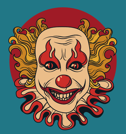 Evil clown, can be used as banner for Halloween, vector illustration