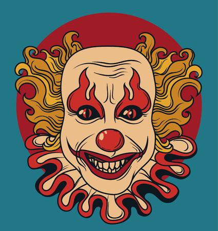 Zły klaun, może służyć jako baner na Halloween, ilustracji wektorowych
