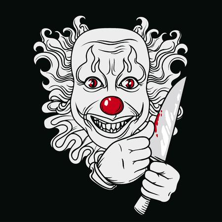 Böser Clown, kann als Banner für Halloween, Vektorillustration verwendet werden