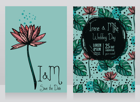 Two wedding cards with lotus flower and monstera leaves, vector illustration Иллюстрация