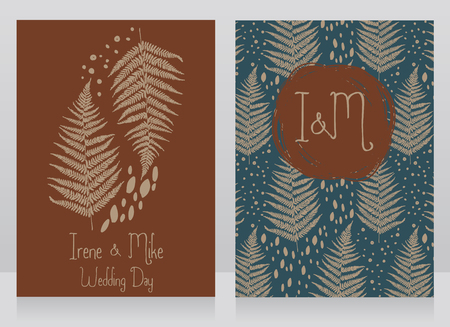 two cards decorated with a frame made of fern leaves, vector illustration in sketch style