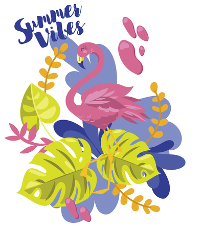 Summer vibes banner with flamingo and tropical plants, cartoon flat style and bright palette, vector illustration