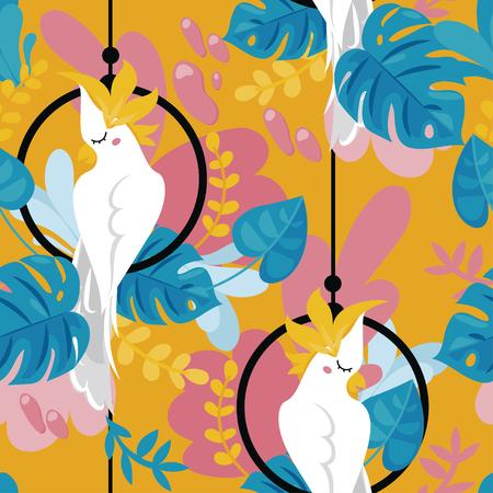 Naadloze achtergrond met kaketoe papegaai en tropische planten, cartoon vlakke stijl en helder palet, vectorillustratie Vector Illustratie