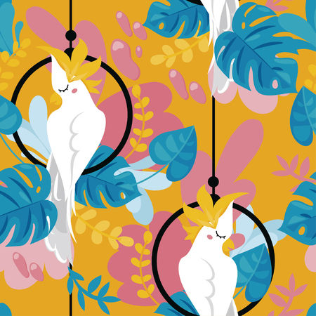 Seamless background with cockatoo parrot and tropical plants, cartoon flat style and bright palette, vector illustration Vektorové ilustrace