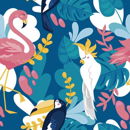 Naadloze patroon met tropische vogels en tropische planten, cartoon vlakke stijl en helder palet, vectorillustratie