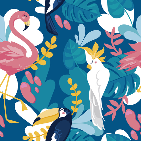 Seamless pattern with tropical birds and tropical plants, cartoon flat style and bright palette, vector illustration