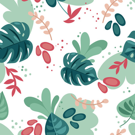 seamless pattern with colorful tropical leaves in a flat style, vector illustration