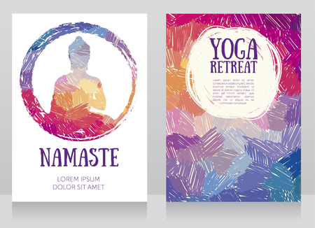 two cards for yoga studio with Buddha silhouette on a black background, funky colors, can be used as a greeting card for a Buddha birthday, vector illustration Illustration