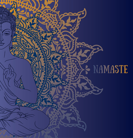 Poster with Buddha in meditation on beautiful mandala ornament, blue palette, can be used as greeting card