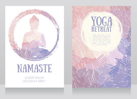 two cards for yoga studio with Buddha silhouette on a black background, can be used as greeting card for a Buddha birthday, vector illustration