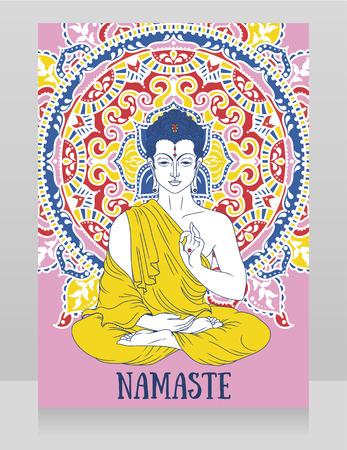 Namaste mandala stock photos royalty free namaste mandala images poster with buddha in meditation on beautiful mandala ornament can be used as greeting card m4hsunfo