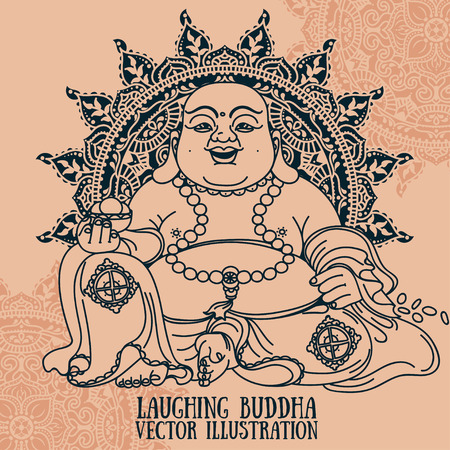 Laughing Buddha on beautiful mandala, traditional asian Feng Shui talisman Hotei or Budai, vector illustration Vettoriali