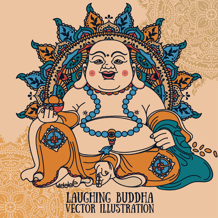 Laughing Buddha on beautiful mandala, traditional asian Feng Shui talisman Hotei or Budai, vector illustration Illustration