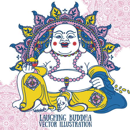Laughing Buddha on beautiful mandala, traditional asian Feng Shui talisman Hotei or Budai, vector illustration Stock Illustratie