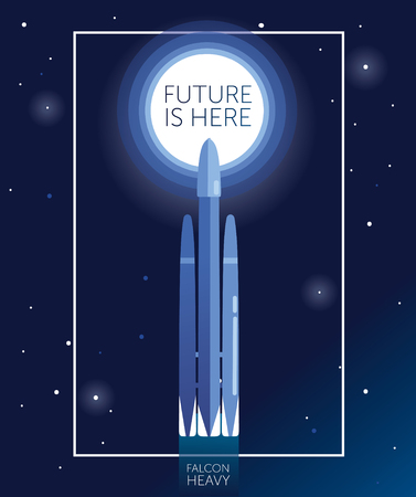 """banner """"future is here"""" with space shuttle falcon heavy going to space, can be used for space exploratioin program, vector illustration"""