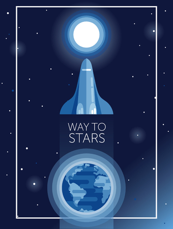 banner for way to stars with space shuttle going to the moon, can be used for cosmic party or for space exploratioin program, vector illustration