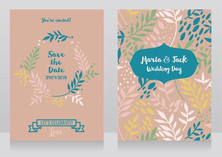 due carte di nozze con ramoscelli e stile romantico, illustrazione vettoriale