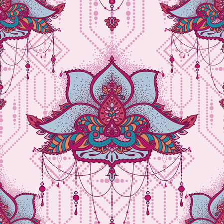 Floral pattern with indian paisley pattern, vector illustration