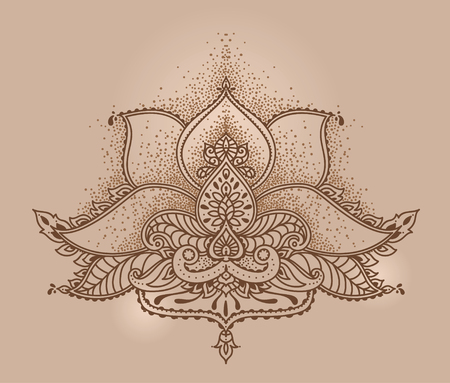 Royal magical ornament, stylized lotus flower in indian style, can be used for tattoo or mehndi, vector illustration Illustration