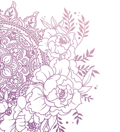 hermoso cartel con peonías y adornos de mandala