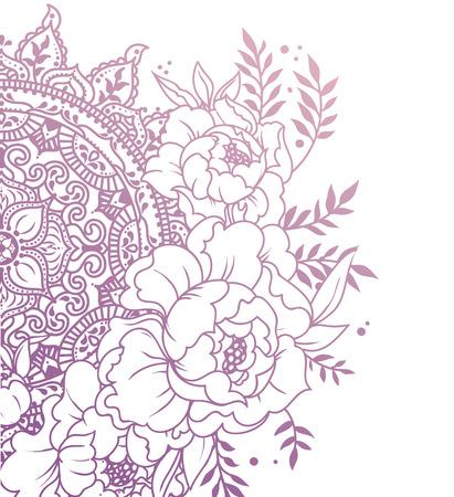 schönes Poster mit Pfingstrosen und Mandala Ornament