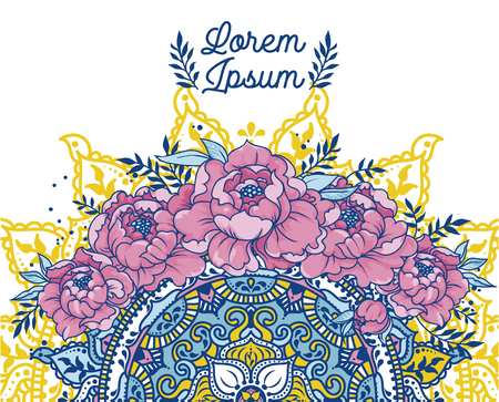 poster with peonies and mandala ornament