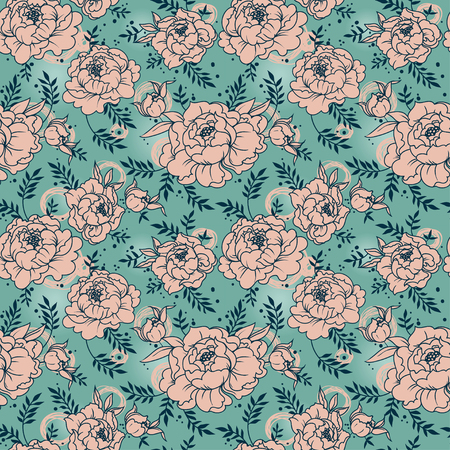 seamless pattern with peonies, vector illustration