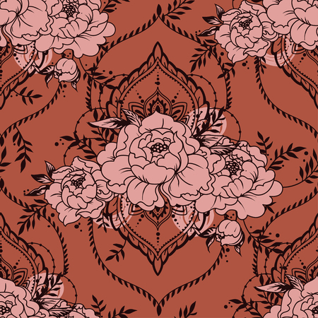 seamless texture with oriental frames and peonies