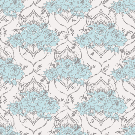 seamless pattern with deorative frames and peonies