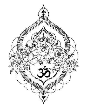 pivoine, décoration de style mendi et symbole om