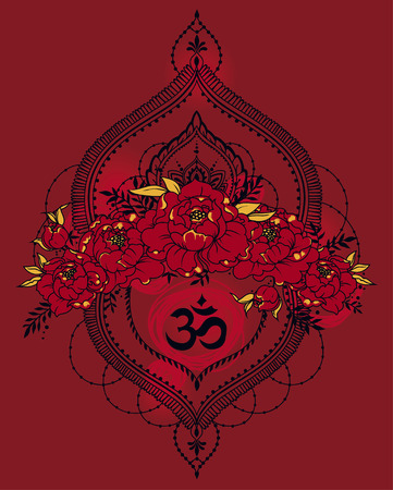 peony, mendi style deoration and symbol om Illustration