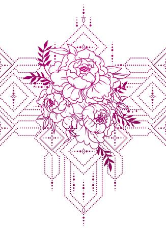 beautiful poster with peonies an geometrical ornate Illusztráció