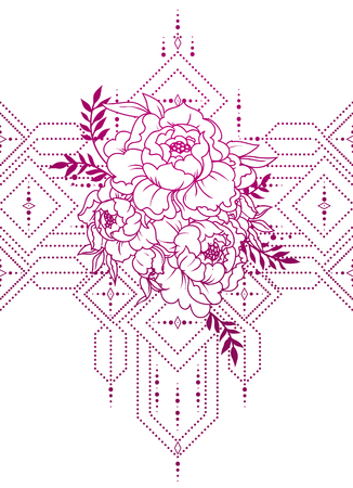 beautiful poster with peonies an geometrical ornate Illustration