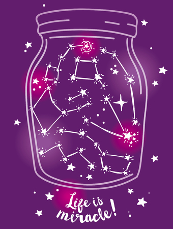 Poster for miracles, magical jar with stars inside