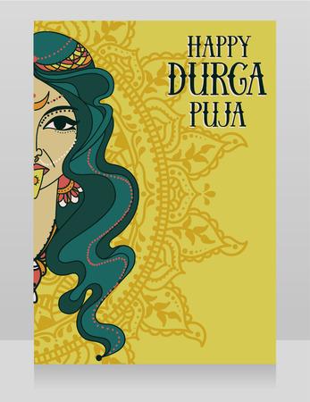 Card for Durga Puja, poster with indian goddess Kali Illustration