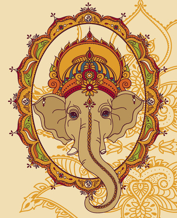 Lord Ganesha and beautiful indian style frame