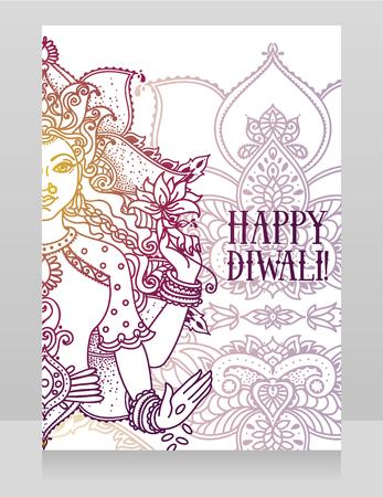 Card for diwali festival with indian goddess Lakshmi Illusztráció