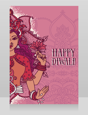 Card for diwali festival with indian goddess Lakshmi Illustration