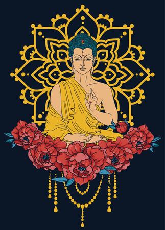 Buddha in meditation on mandala and peonies frame