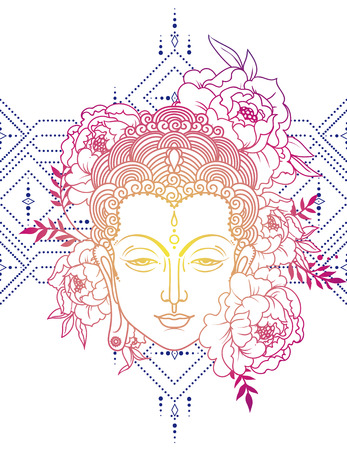 Buddha head and peonies frame Illustration