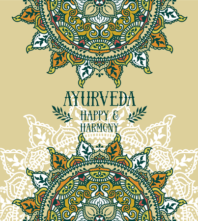 Poster für Ayurveda mit indischen Mandalas