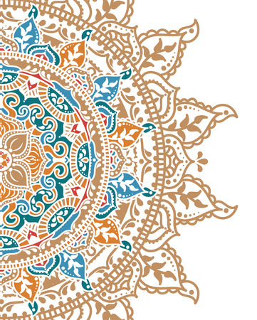 round ornament in indian style, vector illustration