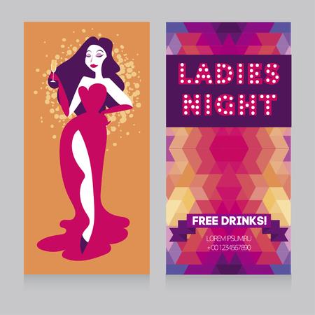 Deux cartes pour la soirée des dames avec une femme glamour buvant du champagne Vecteurs